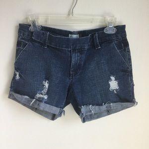 Old Navy Dark Blue Denim Jean Shorts Distressed